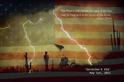 Usa Patriotic Operation Geronimo-e Kia Art Print by James BO  Insogna