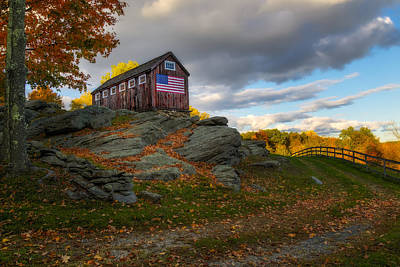 Photograph - Usa Patriotic Rustic Barn by Susan Candelario