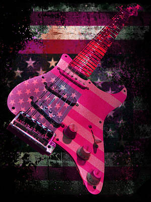 Digital Art - Usa Pink Strat Guitar Music by Guitar Wacky