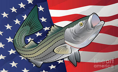 Hallmark Digital Art - Usa Rockfish Striped Bass by Joe Barsin