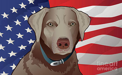 Retriever Digital Art - Usa Silver Lab by Joe Barsin