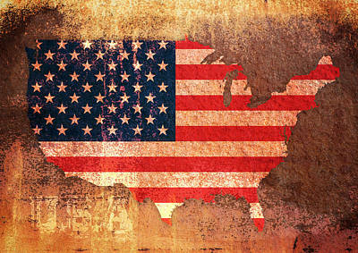 Usa Star And Stripes Map Art Print by Michael Tompsett