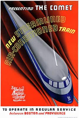 Mixed Media - Usa The Comet Vintage Travel Poster Restored by Carsten Reisinger