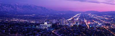 Usa, Utah, Salt Lake City, Aerial, Night Print by Panoramic Images