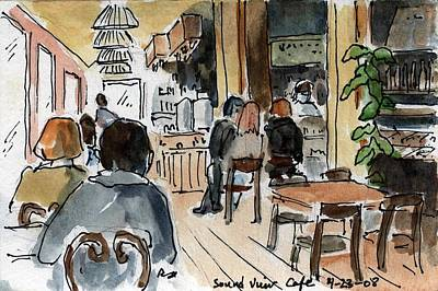 Wa Painting - Usa - Wa - Sound View Cafe In Pike Place Market Seattle by Michael Liebhaber