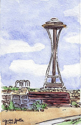 Wa Painting - Usa - Wa - View Leaving Seattle On The Ship by Michael Liebhaber