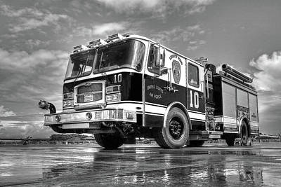 Photograph - Usaf Lakenheath Fire Truck In Black And White by Gill Billington
