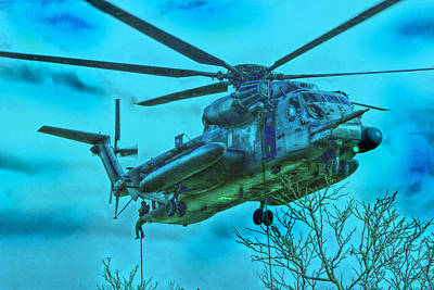 Usaf Mh-53 Fast Roping Art Print