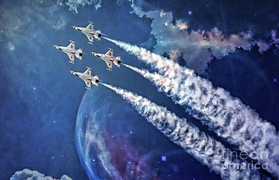 Digital Art - Usaf Thunderbirds Diamond Formation by Mary Lou Chmura