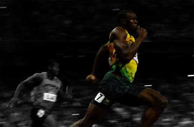Mixed Media - Usain Bolt Ahead Of The Pack 2c by Brian Reaves