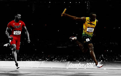 Mixed Media - Usain Bolt Fastest Man On Earth by Brian Reaves