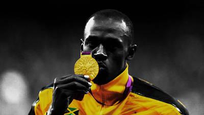 Mixed Media - Usain Bolt Gold Medal by Brian Reaves