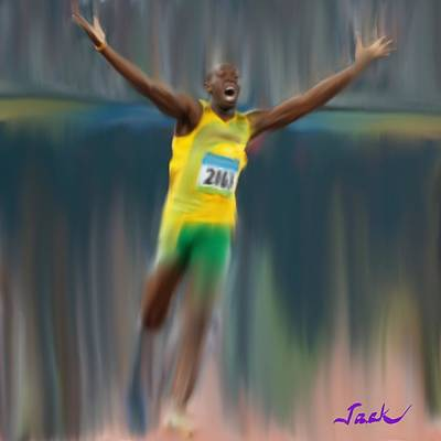 Usain Bolt Digital Art - Usain Bolt 2008 by Jack Bunds