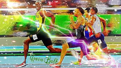 Digital Art - Usain Bolt  by Karen Buford