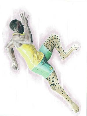 Cheetah Drawing - Usain Bolt Like A Cheetah by Raphael Rynzler