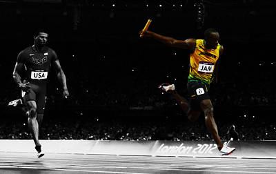 Mixed Media - Usain Bolt Photo Finish by Brian Reaves