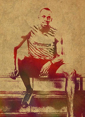 Jamaica Mixed Media - Usain Bolt Sprinter Jamaica Olympics Watercolor Portrait by Design Turnpike