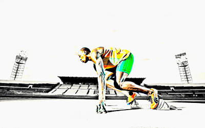 Mixed Media - Usain Bolt The Fastest Man On The Planet by Brian Reaves