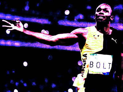 Usain Bolt Three Gold Medals Art Print