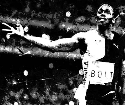 Usain Bolt Three Gold Medals S1 Art Print