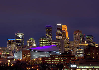 Landscapes Royalty-Free and Rights-Managed Images - USBank Stadium Dressed In Purple by Wayne Moran