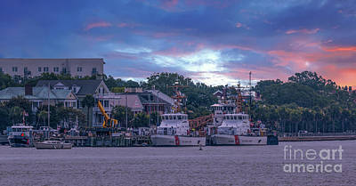 Photograph - Uscg Charleston Sunset by Dale Powell
