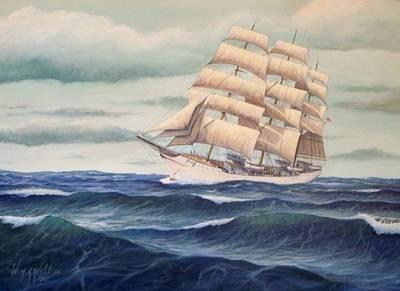 Tall Ships. Marine Art Painting - Uscg Danmark by William H RaVell III