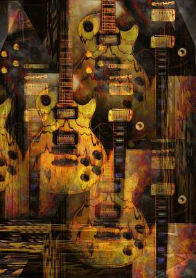 Fender Strat Digital Art - Use You Illusion by Bill Cannon