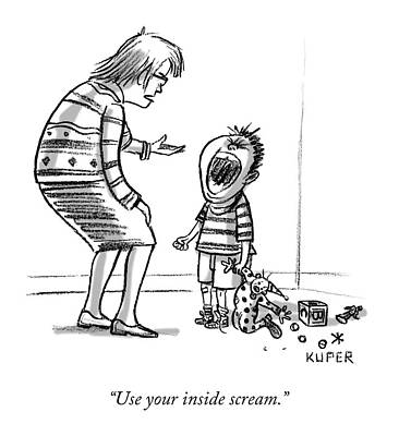 Whine Drawing - Use Your Inside Scream by Peter Kuper