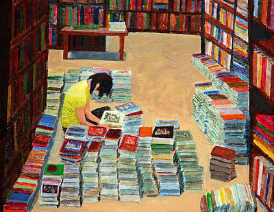 Bookshelf Painting - Used Books by David Carson Taylor