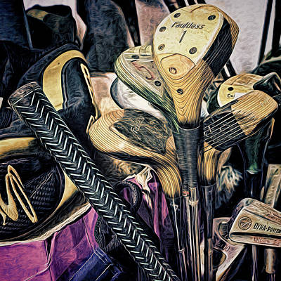 Photograph - Used Golf Clubs by Lewis Mann