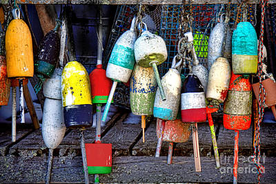 Used Lobster Trap Buoys Art Print by Olivier Le Queinec