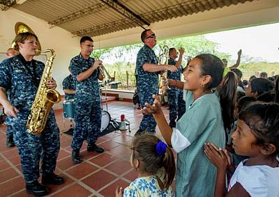 Photograph - Usff Band Perform For Colombian School Children In Support Of Continuing Promise Cp17 by Paul Fearn