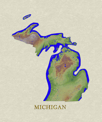 Michigan State Digital Art - Usgs Map Of Michigan by Elaine Plesser