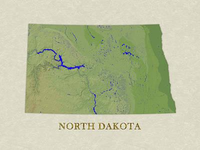 Usgs Map Of North Dakota Art Print