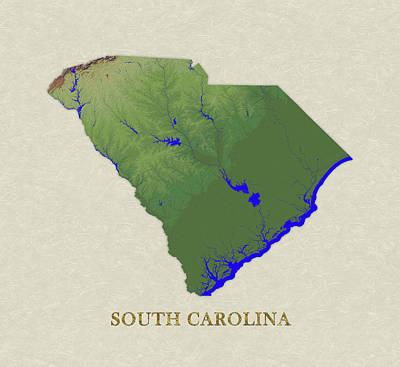 Usgs Map Of South Carolina Art Print by Elaine Plesser
