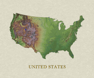Usgs Map Of United States Art Print by Elaine Plesser