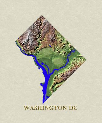 Usgs Map Of Washington Dc Art Print by Elaine Plesser