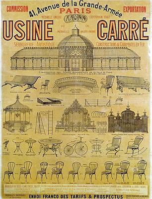 Royalty-Free and Rights-Managed Images - Usine Carre, Paris - Exposition 1867 - Vintage Furniture Advertising Poster by Studio Grafiikka
