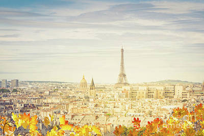 Paris Skyline Royalty-Free and Rights-Managed Images - Autumn Paris Skyline by Anastasy Yarmolovich