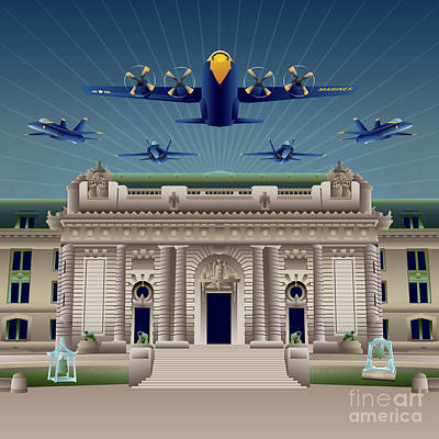 Digital Art - Usna Bancroft Hall Blue Angels Show by Joe Barsin