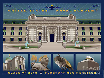 Digital Art - Usna Class Of 2018 Monuments by Joe Barsin