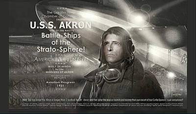 Digital Art - Uss Akron - Zeppelin by James Vaughan
