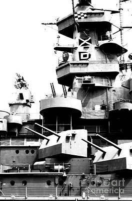 Photograph - Uss Alabama Battleship Conning Tower Guns And Flags Mobile Alabama Black And White Digital Art by Shawn O'Brien