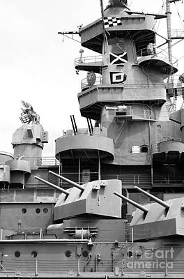 Photograph - Uss Alabama Battleship Conning Tower Guns And Flags Mobile Alabama Black And White by Shawn O'Brien