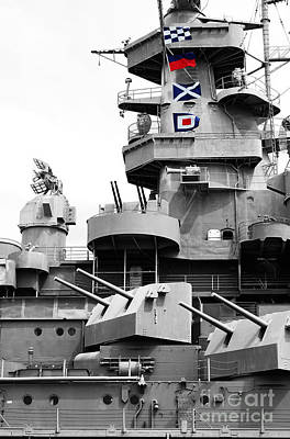Photograph - Uss Alabama Battleship Conning Tower Guns And Flags Mobile Alabama Color Splash Digital Art by Shawn O'Brien