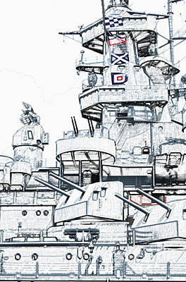 Photograph - Uss Alabama Battleship Conning Tower Guns And Flags Mobile Alabama Colored Pencil Digital Art by Shawn O'Brien