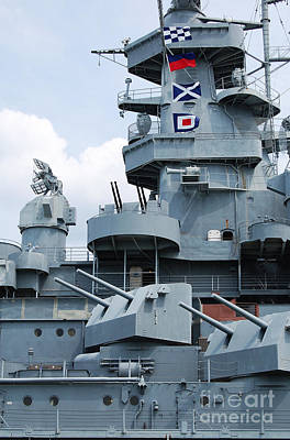 Photograph - Uss Alabama Battleship Conning Tower Guns And Flags Mobile Alabama by Shawn O'Brien
