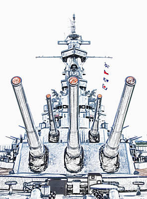 Photograph - Uss Alabama Battleship Guns Tower And Flags Mobile Alabama Colored Pencil Digital Art by Shawn O'Brien