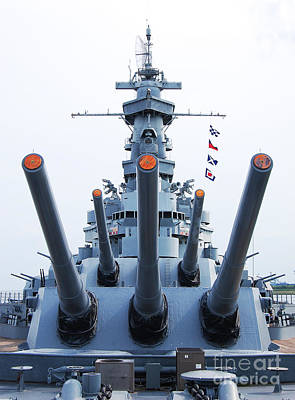 Photograph - Uss Alabama Battleship Guns Tower And Flags Mobile Alabama by Shawn O'Brien
